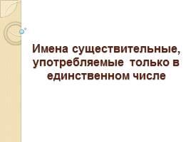 Русский язык слова которые употребляются только в единственном числе
